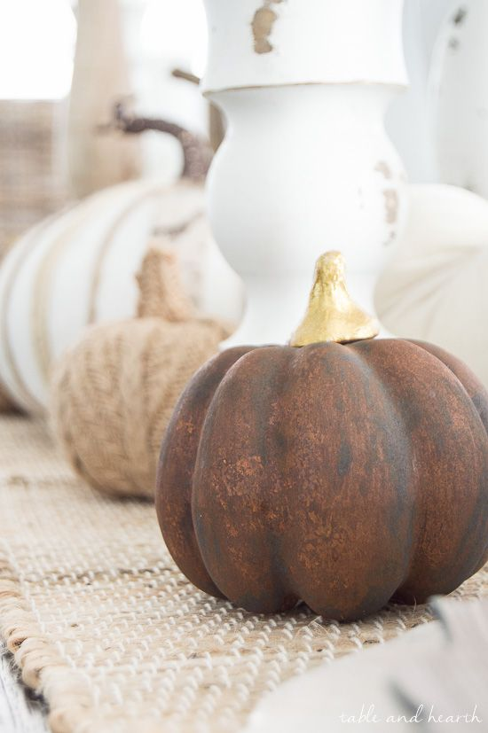 A quick and easy pumpkin project for fall \ Thanksgiving Table Decor Ideas | Update those faux pumpkins with a beautiful Metal Effects Rust Finish | How-to by Table and Hearth