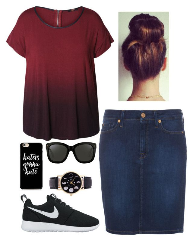"""haters gonna hate"" by faythe2230 ❤ liked on Polyvore featuring Dex, 7 For All Mankind, NIKE, Linda Farrow and plus size clothing"