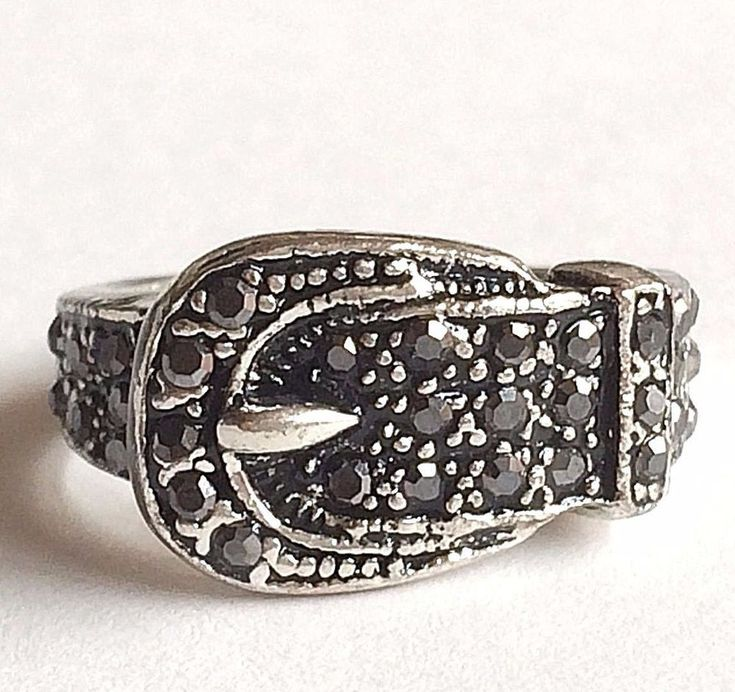 Silver Belt Buckle Ring Plated Country Western Cowgirl Size 6 7 8 9 Crystal Blk #Unbranded #Band
