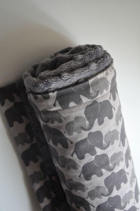 Gender Neutral Baby Minky Blanket, XLARGE Snuggle Gray Grey Elephants and Grey Minky on Etsy, $32.27