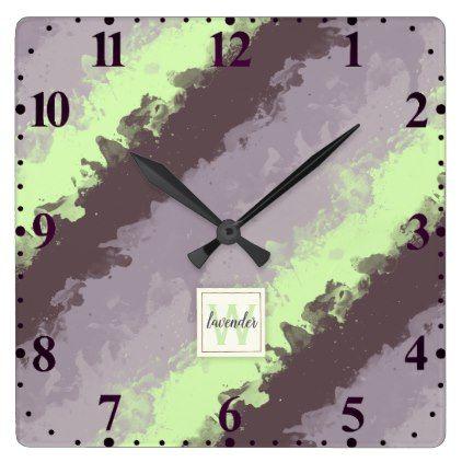 Watercolor Lavender Color Palette Monogram Square Wall Clock - monogram gifts unique design style monogrammed diy cyo customize