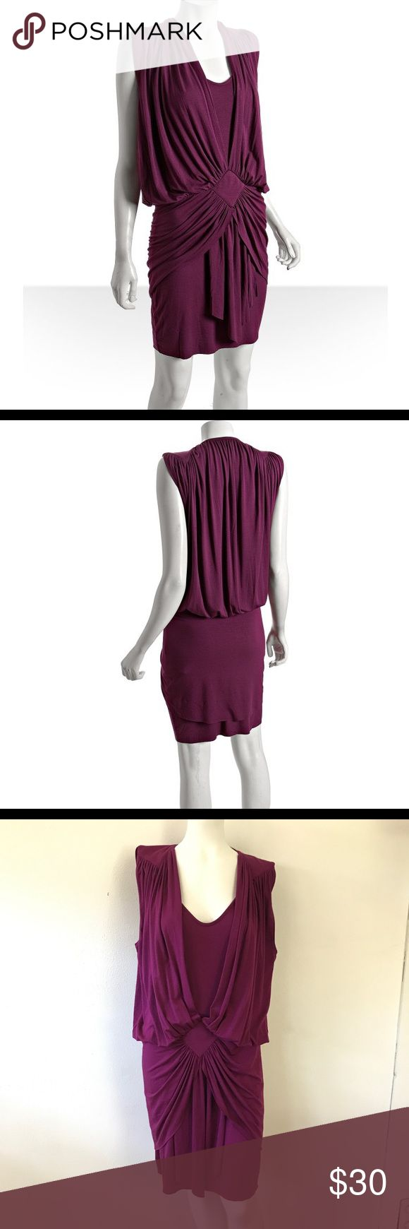 Rachel Pally • Acacia Draped Dress Rachel Pally Sleeveless Draped acacia dress in dragonfly purple. Draped and open in the front with built in lining Gathered In the center Size large  92% modal 8% spandex Rachel Pally Dresses