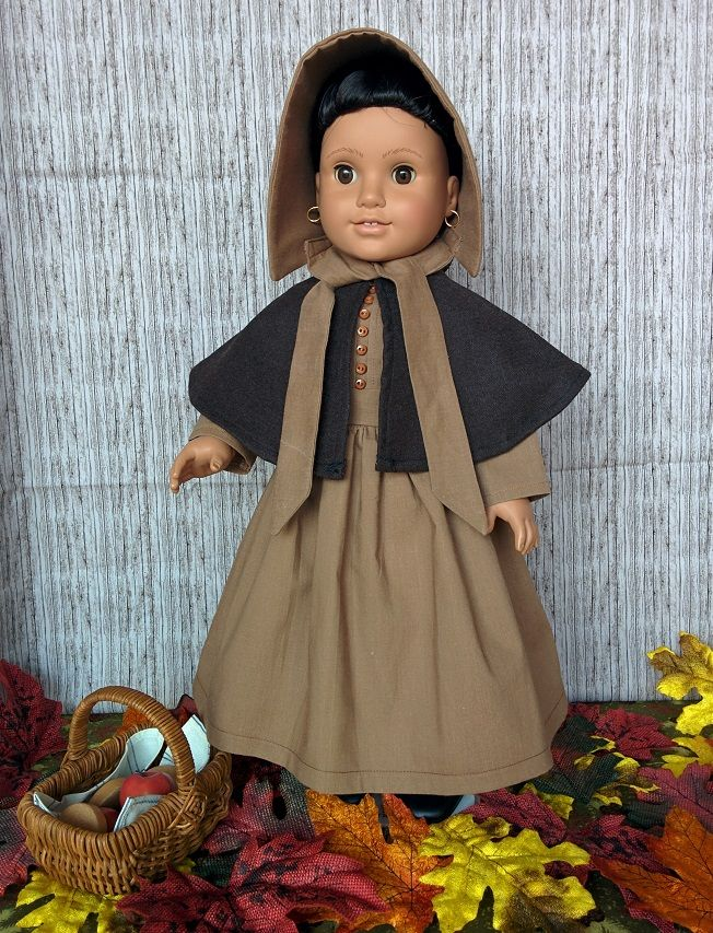 Josefina in a brown Quaker dress - inspired by an 1830s ensemble in the Philadelphia Museum of Art collection.  http://www.philamuseum.org/collections/permanent/76395.html?mulR=602428987%7C742