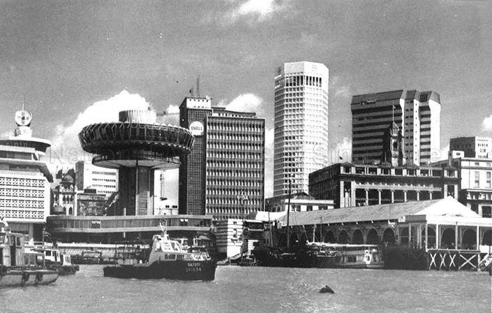 View of Singapore's Central Business District waterfront - 1975