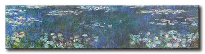 MU_MN2085 _ t_Monet _ The Water lillies _ Green reflections / Cuadro Arte Famoso, lirios con Reflejos Verdes