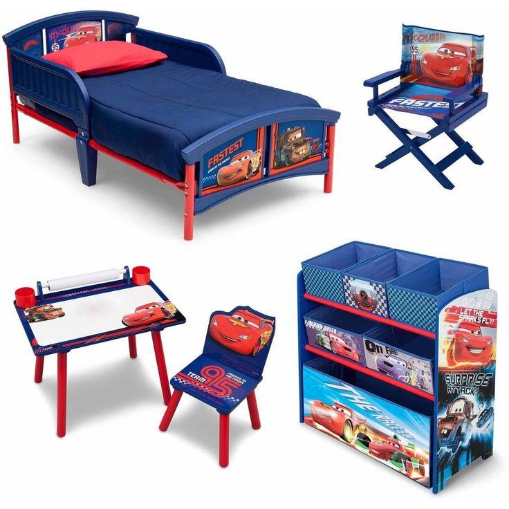 Toddler Bedroom Set Boys Cars Furniture Bed Toy Storage Art Desk Chair Kids  New #DisneyPixar