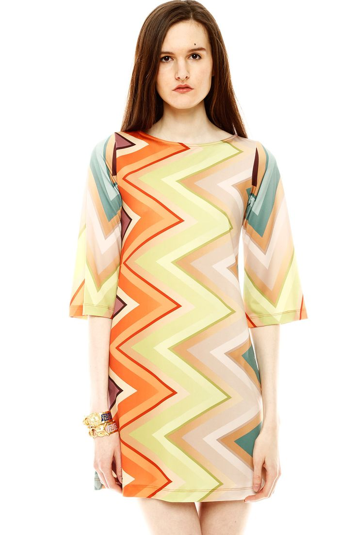 Shoptiques — Retro Zig Zag Dress, love the agate colors!