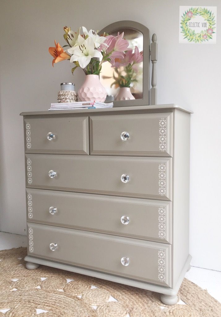 Chest of drawers with stenciling painted in fusion mineral paint.