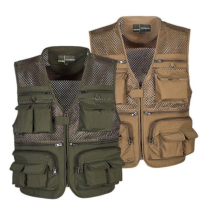 Outdoor Fishing Vest Summer Hunting Vest Jackets Multi pockets Professional Photography Working Wear Vest Men Waistcoats  Жилет для рыбалки.