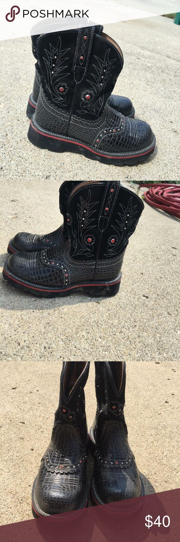 Arias FatBaby boots Ariat FatBaby Gem Baby 16405 Black Croc Leather Western Roper Boot Women 6 B Some light scuffs on toe. Ariat Shoes