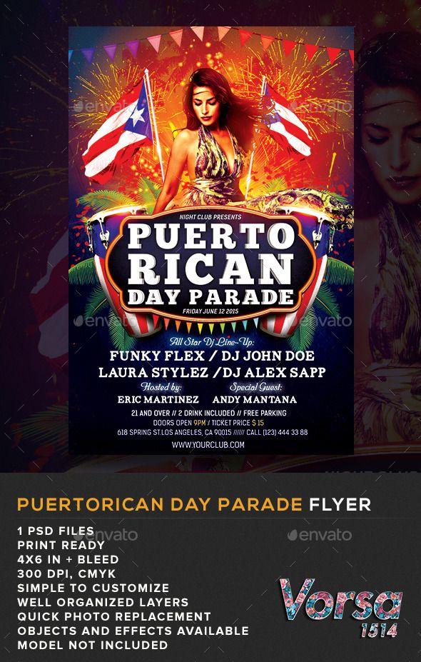 Puerto Rican Day Parade Flyer Flyer Puerto Ricans Party Flyer