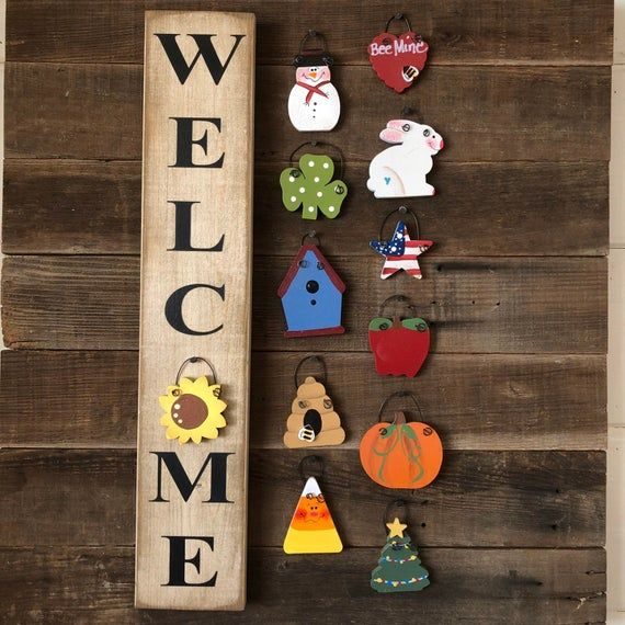 This Fun Farmhouse Style Vertical Mini Welcome Sign Is 3 1 2 Wide X 19 Long And Comes Ready To Hang With 12 Changeable Pieces Weekend Crafts Crafts Handmade