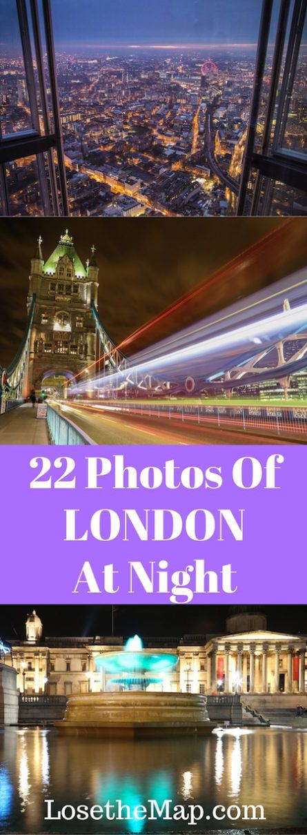 Take a tour of London at night through pictures! Check out the capital of the UK all lit up.  Here are 22 photos of London at night for you to view before your next trip.