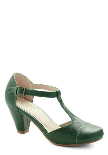 Green Room Heel by Chelsea Crew - Mid, Faux Leather, Green, Solid. totally swooning. T-straps and mary janes do me in!