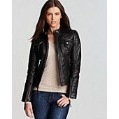 KORS Michael Kors Zip Detail Moto Leather Jacket