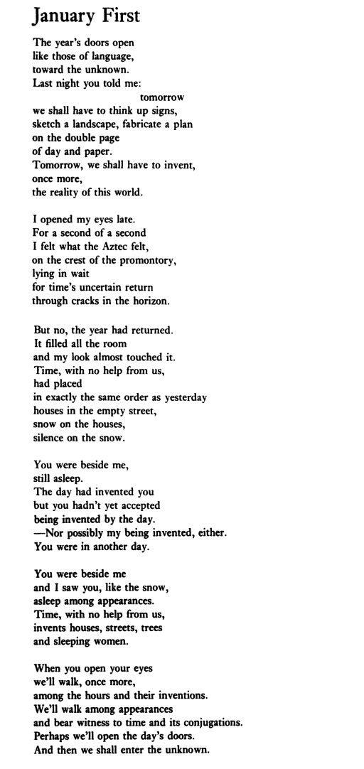"Octavio Paz, ""January First"" Octavio Paz Lozano March 31 ..."