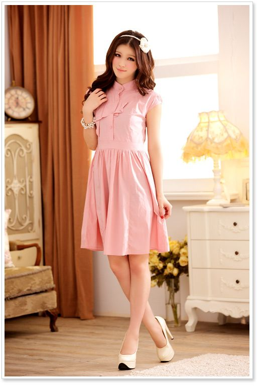 Wholesale Korean Dress J3202 Pink [Korean Dress J3202 Pink ...