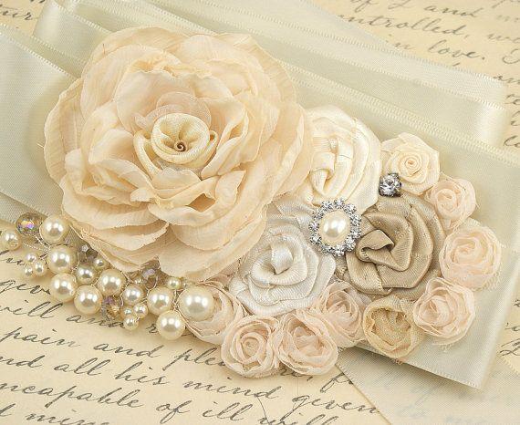 Bridal Sash Wedding Sash in Ivory Cream and Champagne by SolBijou