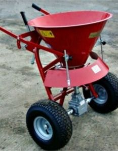 Large manual salt seed and fertiliser spreader. The ATV spreaders can be towed or mounted on a quad bike to disperse grass seed, fertiliser onto the land to maintain the fields encouraging healthy growth. For more info: http://www.fresh-group.com/spreaders.html
