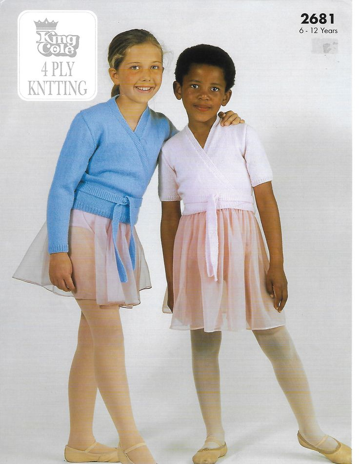 King Cole 2681 Ballet Top in King Cole 4 Ply yarn or equivalent. Uses 4 Ply #1 weight yarn. Sizes for 7 and 11 years.