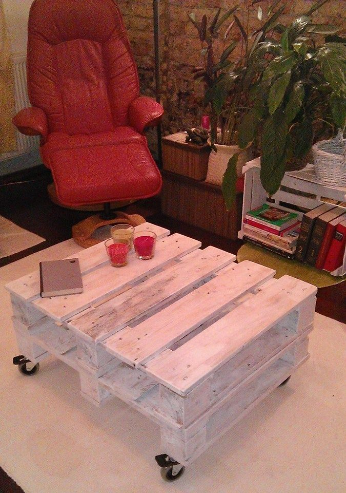 the first pallet coffee table made by me..