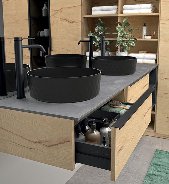 Meuble De Salle De Bain Sur Mesure Vasque Noire Ceramique En 2020 Meuble De Salle De Bain Mobilier Salle De Bain Vasque Noire