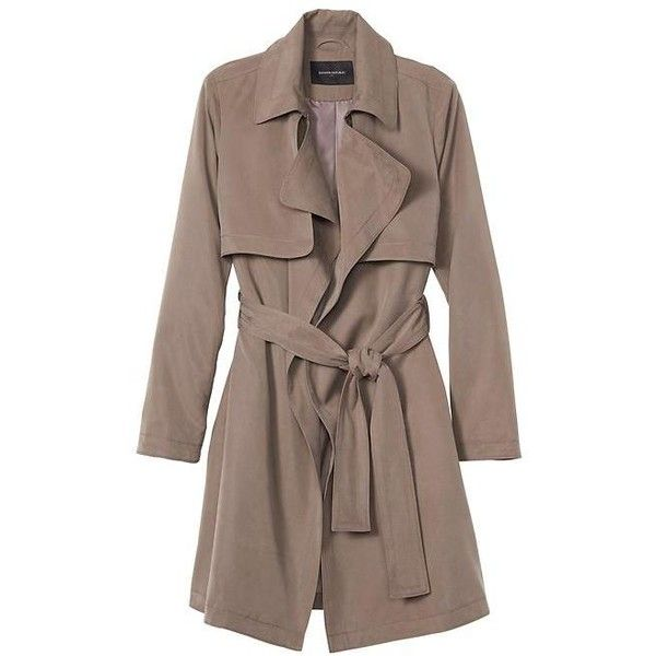 Banana Republic Women Factory Soft Trench Coat ($140) ❤ liked on Polyvore featuring outerwear, coats, brown coat, brown trench coat, petite trench coat, petite coats and banana republic