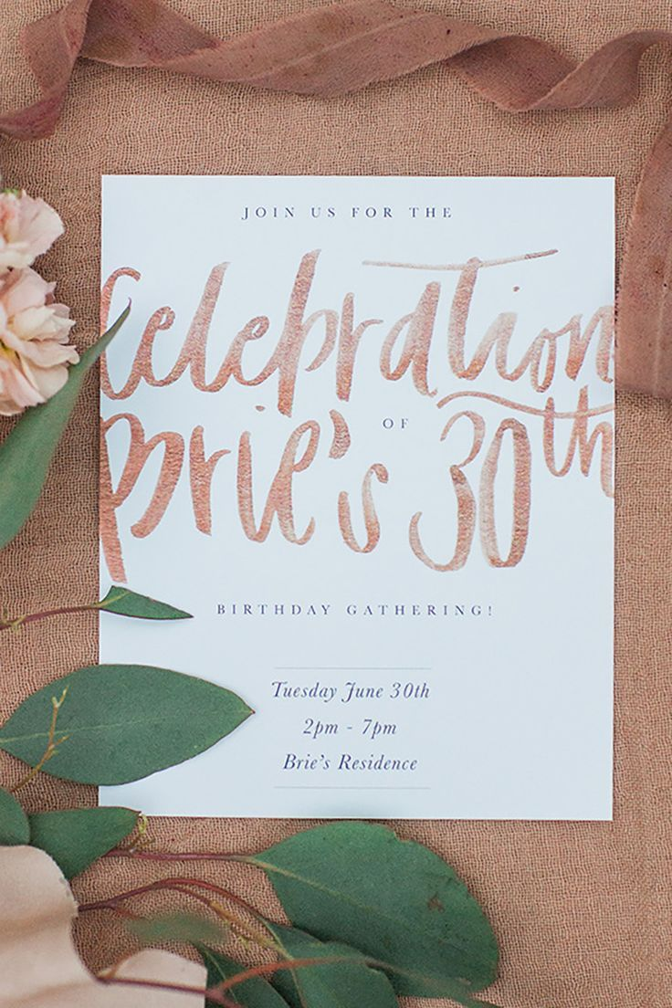 Pretty invitations: http://www.stylemepretty.com/living/2015/09/15/30th-birthday-celebration-dripping-in-florals/ | Photography: Sara Weir - www.saraweirphoto.com