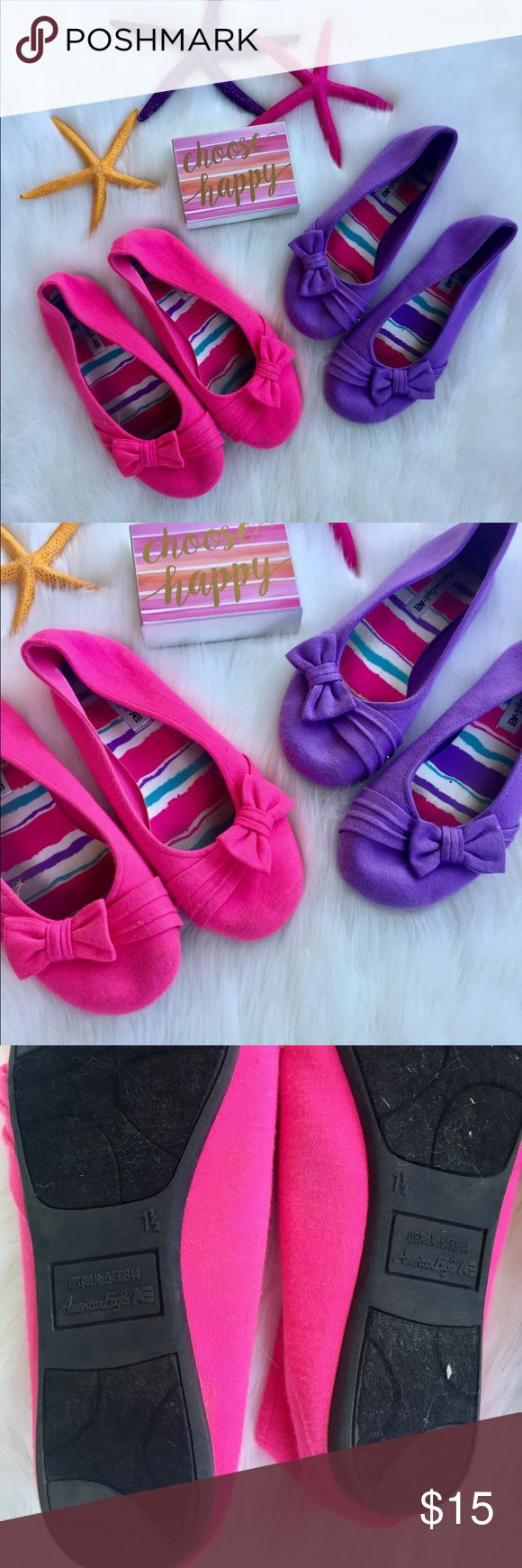 (2) Pairs of Girls Ballet Flats (2) Pairs of Girls Ballet Shoes Pink (size 1.5) & Purple (size 1) preloved shoes in excellent condition!    🤔 Ask any & all questions ✅Use Offer Button 🚭& 🐶😺🐠Free Home 🚫Trades/Offline Transactions 📦Bundle & Save Shoes
