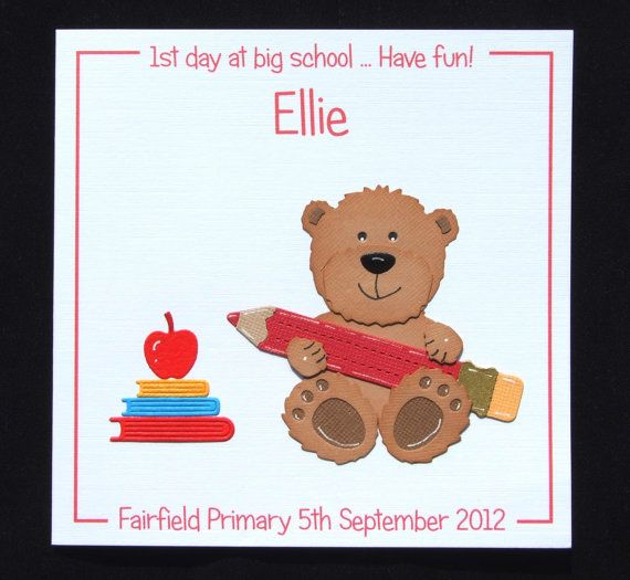 Personalised card, first day at nursery card, first day at school card, 1st day at nursery, 1st day at school handmade card, UK seller