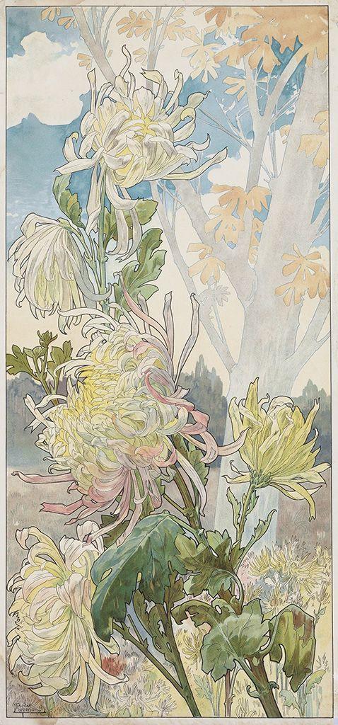 HENRI PRIVAT-LIVEMONT Quatre Planches Fleurs Décoratives: Chrysanthèmes, Iris, Pivoines et Tulipes.  Set of 4 color lithographs on smooth, cream wove paper, circa 1900