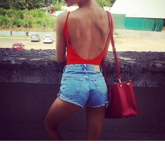 Backless red bodysuit