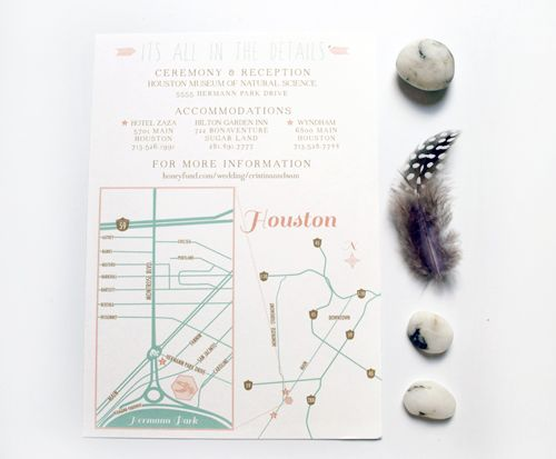 Summer Science Museum Wedding Invitations / Houston Map