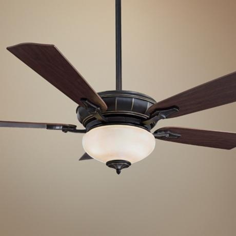 Replace white ceiling fan with darker one something with a softer light