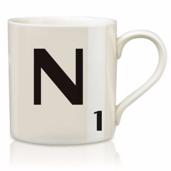 Scrabble Mug N: Scrabble mugs – collect the set for when you have 25 friends round for tea.