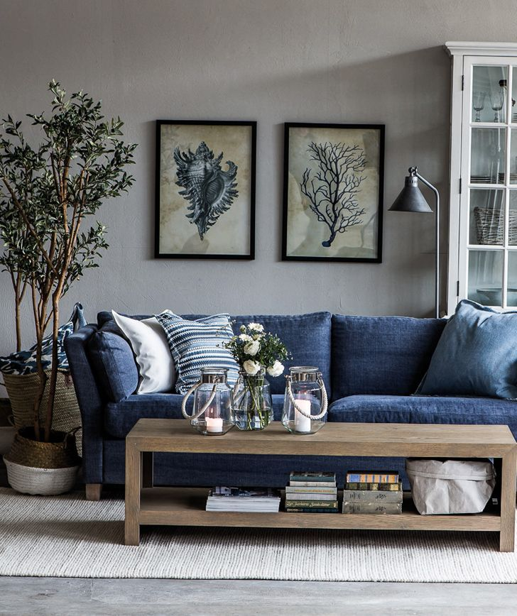 Home cottage denim couch navy - Grey and blue living room furniture ...