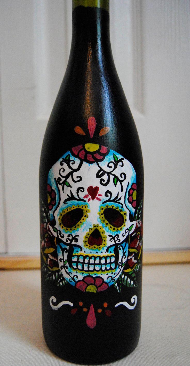 Sugar skull painting on wine bottle candle holder vase for Easy wine bottle painting ideas