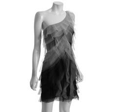 I love this BCBGMAXAZRIA grey ombrey tiered mesh 'Monica' one shoulder dress (via Shop It To Me)