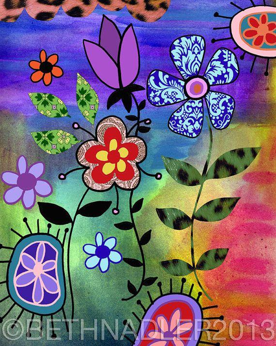 Funky Boho Garden Wall Art by BethNadlerArt on Etsy, $15.00