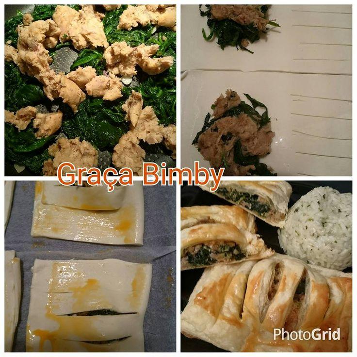 Folhados de alheira e espinafres com arroz de coentros – Receita S     Estes folhados são uma delícia, podem servir de refeição ou de entra...
