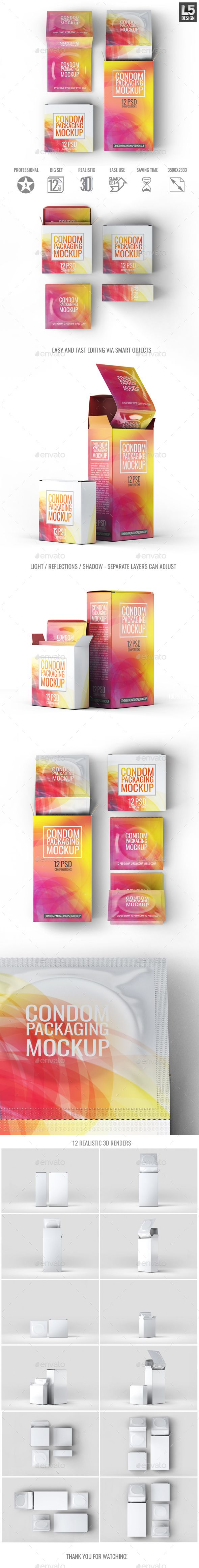 Condoms Packaging Mock-Up #box • Click here to download ! http://graphicriver.net/item/condoms-packaging-mockup/15983122?ref=pxcr