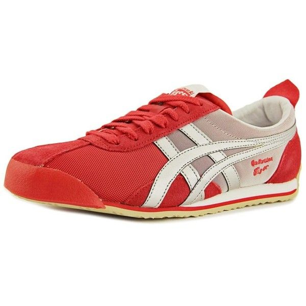 Onitsuka Tiger By Asics Fencing Women Round Toe Synthetic Red Sneakers ($57) ❤ liked on Polyvore featuring shoes, sneakers, red, silver trainers, silver sneakers, flat shoes, round toe flats and red trainers