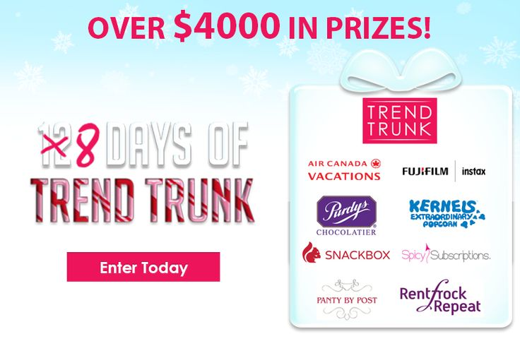 8 Days of Trend Trunk is back AND bigger than ever! Win your share of over $4000 in prizes!   Visit daily to enter for a chance to WIN!   https://www.trendtrunk.com/Christmas-Contest