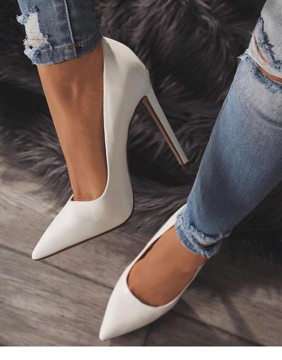 db0b4011479 I like white stiletto with jeans in 2019