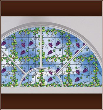Elegant stained glass  - Grapevine Stained Glass See Thru Window Film