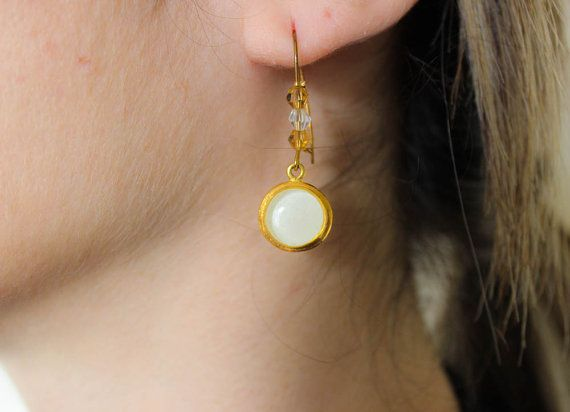 Handmade gold brass earrings/ Τurquoise or White by jtfashionsoul
