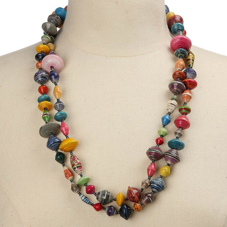 Multicolour Recycled Magazines Necklace