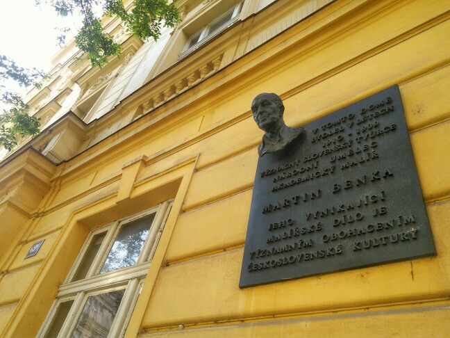 Prominent Slovak creator, national artist, and academic painter Martin Benka lived in this building in 1910-1939. His outstanding paintings have significantly enriched Czechslovak culture. [Czech]