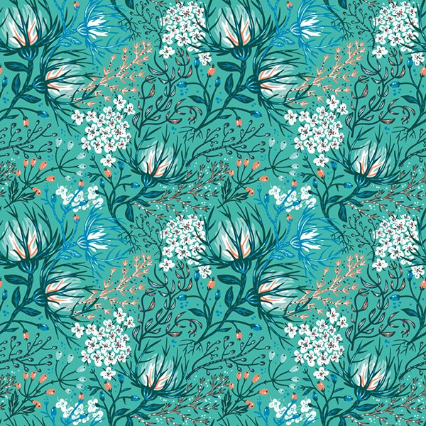 Floral fantasy pattern. by Anna Aniskina, via Behance