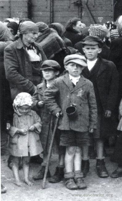 Osvětim.  Rodina slovenského židovky Lili Jacobem (tetu Tauba se svými čtyřmi dětmi) čeká výběr na rampě v Birkenau.  Při výběru byly všechny poslat do plynových komor.  Dopravu z ghetta v Beregszasz v Maďarsku odešel 17. května 1944 a přišel 27. května 1945. (Auschwitz-Birkenau Státní muzeum archiv)